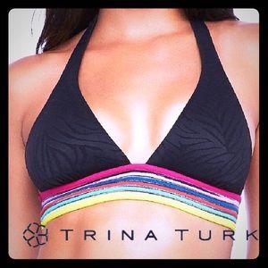 NWT Trina Turk Zebra Texture Print Swim Top